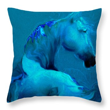 Blue Horse Throw Pillow