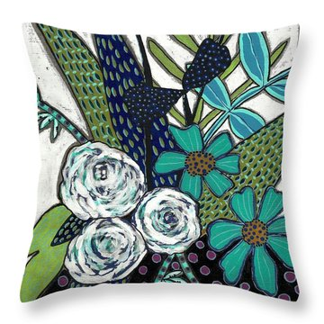 Throw Pillow featuring the painting Blue by Lisa Noneman