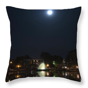 Throw Pillow featuring the digital art Blue Moon Over Fountain Lake by Kelvin Booker