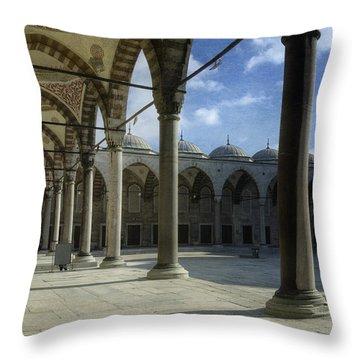 Blue Mosque Courtyard Throw Pillow by Joan Carroll