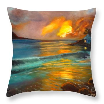 Throw Pillow featuring the painting Blue Sunset by Jenny Lee