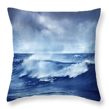 Blue Wave Throw Pillow by Guido Montanes Castillo