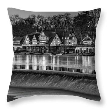 Boathouse Row Bw Throw Pillow