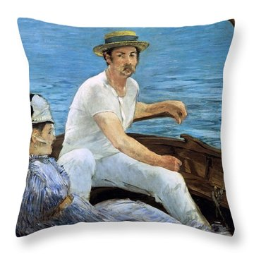 Boating Throw Pillow by Edouard Manet