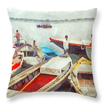 Boats On The Ganges River Throw Pillow