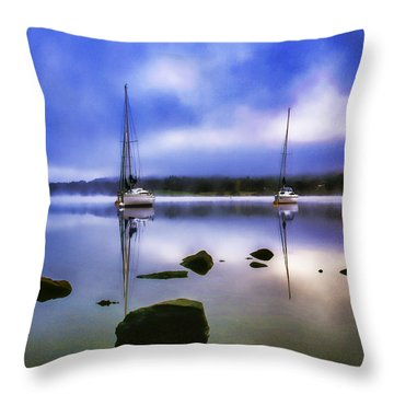 Boats On Ullswater Throw Pillow