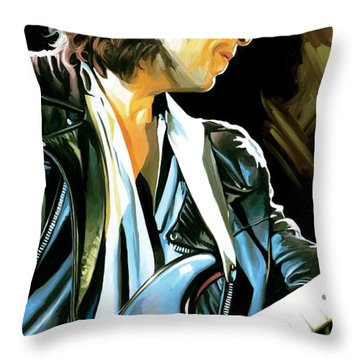 Bob Dylan Artwork 2 Throw Pillow by Sheraz A