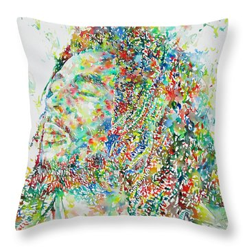 Bob Marley Watercolor Portrait.1 Throw Pillow