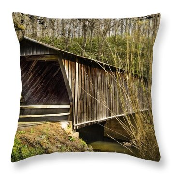 Bob White Covered Bridge Throw Pillow