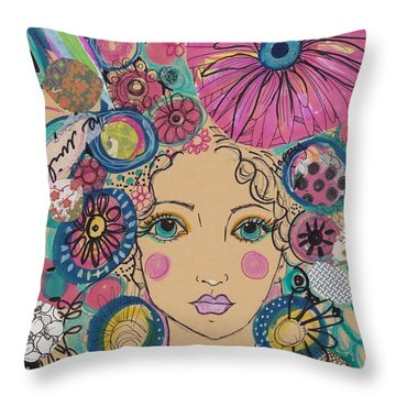 Boho Flower Girl  Throw Pillow