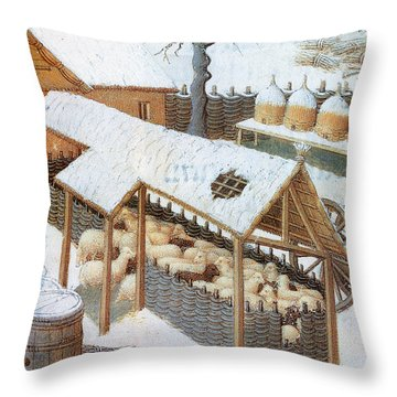 Book Of Hours: February Throw Pillow by Granger