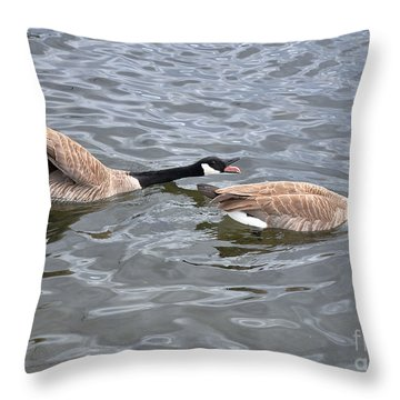 Bossy Canada Goose Throw Pillow by Susan Wiedmann