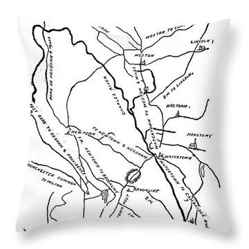 Boston-concord Map, 1775 Throw Pillow by Granger