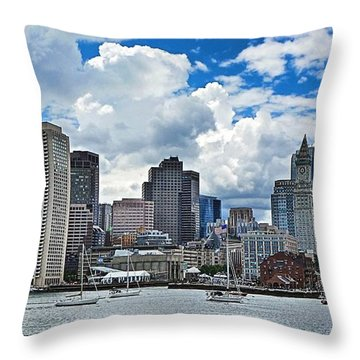 Boston Harbor Throw Pillow by Julia Springer