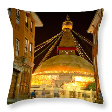 Boudnath Stupa In Nepal At Night Throw Pillow