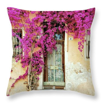 Bougainvillea Doorway Throw Pillow