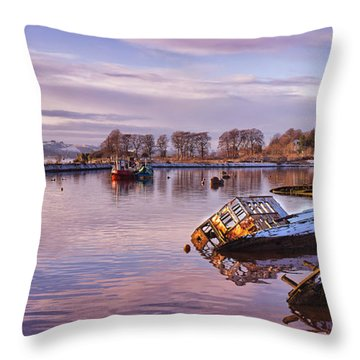 Bowling Harbour Panorama 02 Throw Pillow