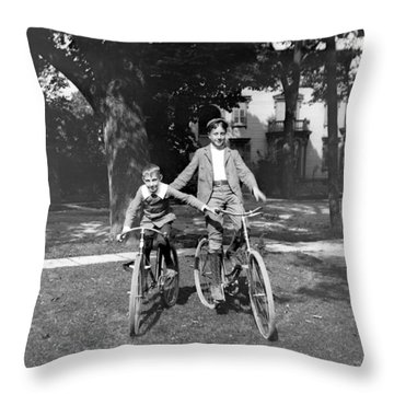 Boys And Bikes Throw Pillow