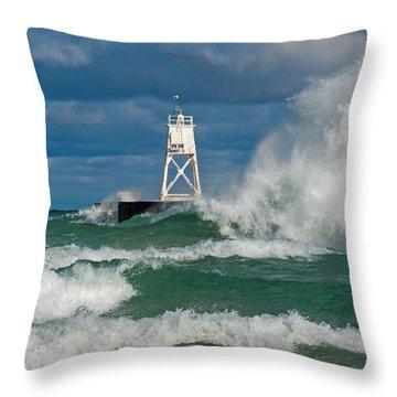 Break Wall Waves Throw Pillow