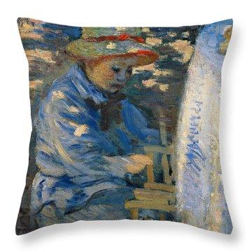 Breakfast In The Garden Throw Pillow by Claude Monet