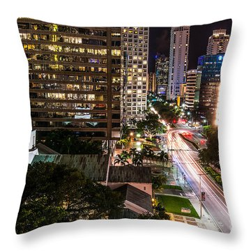 Brickell Ave Downtown Miami  Throw Pillow by Michael Moriarty
