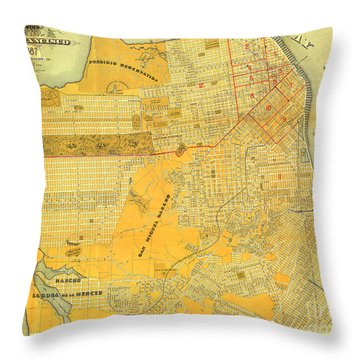 Britton And Reys Guide Map Of The City Of San Francisco. 1887. Throw Pillow