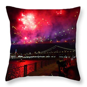 Brooklyn Bridge Fireworks Throw Pillow
