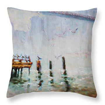 Brooklyn Bridge In A Foggy Morning   Throw Pillow