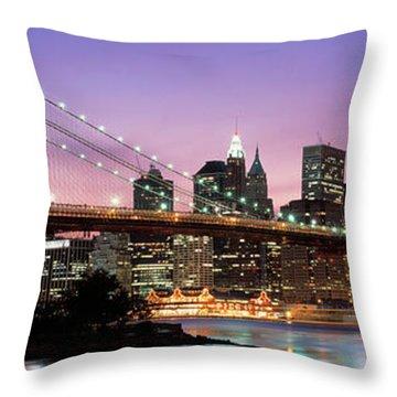 Brooklyn Bridge New York Ny Usa Throw Pillow
