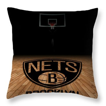 Brooklyn Nets Throw Pillow by Joe Hamilton