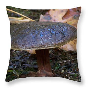 Throw Pillow featuring the photograph Brown Toadstool by Chalet Roome-Rigdon