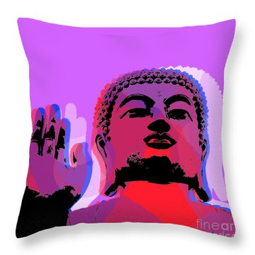 Throw Pillow featuring the digital art Buddha Pop Art - Warhol Style by Jean luc Comperat