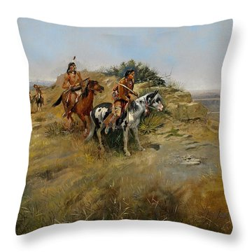 Buffalo Hunt Throw Pillow by Charles Marion Russell