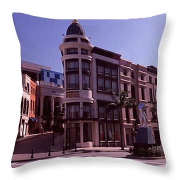 Buildings Along The Road, Rodeo Drive Throw Pillow by Panoramic Images