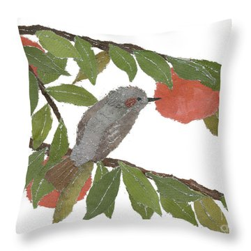 Bulbul And Persimmon  Throw Pillow by Keiko Suzuki