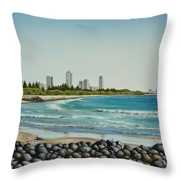 Throw Pillow featuring the painting Burleigh Beach 210808 by Selena Boron