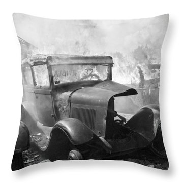 Burning Car Circa 1942  Throw Pillow