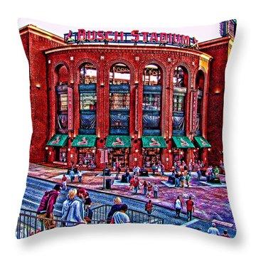 Busch Stadium Throw Pillow by John Freidenberg