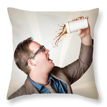 Business Man Drinking A Quick Coffee On The Go Throw Pillow