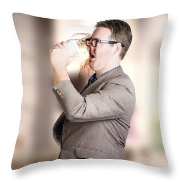 Busy Business Man Drinking Coffee On The Run Throw Pillow
