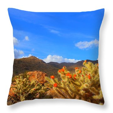 Cactus In Spring Throw Pillow