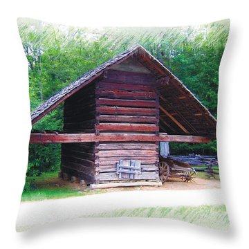 Cades Cove Outbuilding Throw Pillow