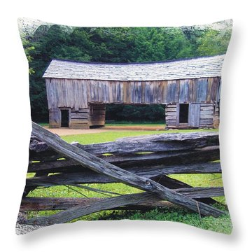 Cades Cove Split Rail And Outbuilding Throw Pillow