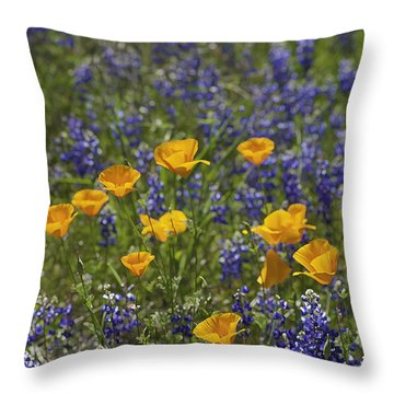 Throw Pillow featuring the photograph California Poppies And Lupine by Sherri Meyer
