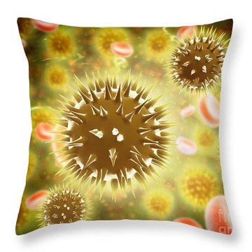 Cancer Cell With Red Blood Cell Flow Throw Pillow