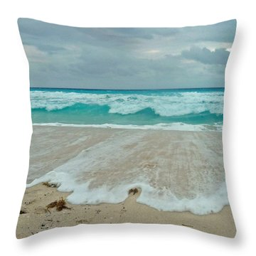 Cancun Evening Walk Throw Pillow by Cheryl Del Toro