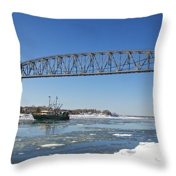 Throw Pillow featuring the photograph Cape Cod Train Bridge by Amazing Jules