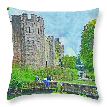 Cardiff Castle And Bute Park Throw Pillow