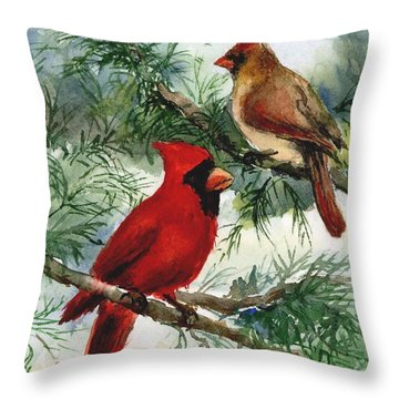 Cardinals In Winter Throw Pillow