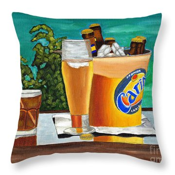 Caribbean Beer Throw Pillow